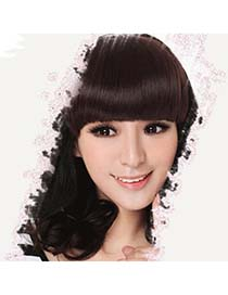 Recycled Dark Brown Hairs Banged No Temples High-Temp Fiber Wigs