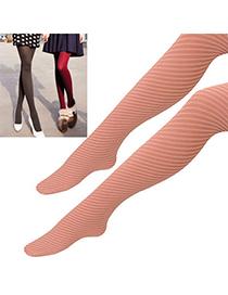 Energie Pink Oblique Stripes Design Velvet Fashion Stockings