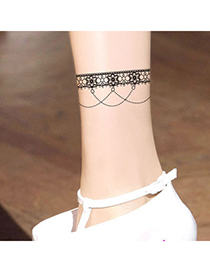 Gored Fleshcolor Chain Flower Pattern Yarn Fashion Stockings