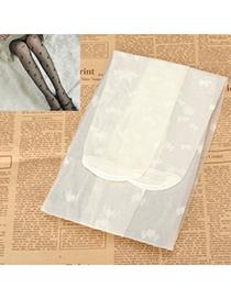 Tummy White Double Heart Design Velvet Fashion Stockings