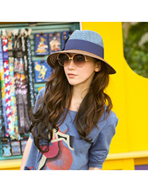 22K Blue Two Colors Patchwork Design Straw Sun Hats