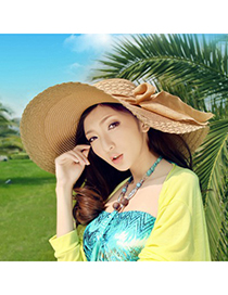 Harry Apricot Wide Large Brim With Big Bowknot Design Straw Sun Hats