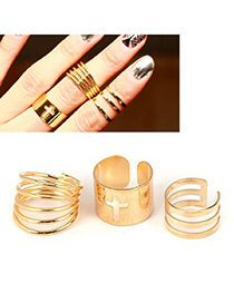 Hurley Gold Color Hollow Out Cross Design Alloy Korean Rings