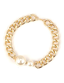 Oversized White Pearl Decorated Chain Design