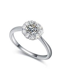 Sample White Diamond Decorated Flower Design Zircon Crystal Rings