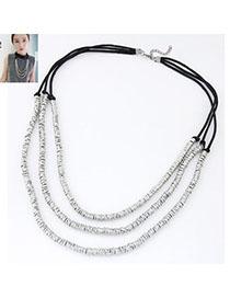 Handmade Silver Color Metal Weave Multilayer Design Alloy Multi Strand Necklaces