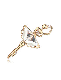 Top Rated White & Champagne Gold Dancing Girl Shape Decorated Simple Design Alloy Crystal Brooches