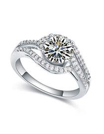 Everlas White Diamond Decorated Simple Design Zircon Crystal Rings