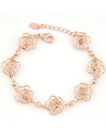 Charm Gold Color Rose Shape Decorated Hollow Out Design Alloy Korean Fashion Bracelet