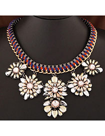 Physical Champagne Gold Gemstone Decorated Flower Weave Design