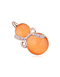 Flip Orange & Rose Gold Diamond Decorated Gourd Shape Design Alloy Crystal Brooches