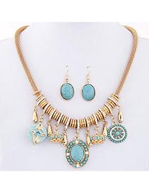 bohemia Blue Gemstone Decorated Oval Shape Design Alloy Jewelry Sets
