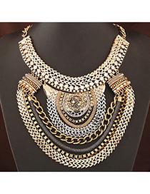 retro Gold Color Diamond Decorated Multilayer Design