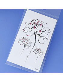 Fashion Red Flower Pattern Simple Design Tape Tattoos Body Art