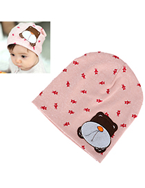 Local Pink Lovely Bear Pattern Simple Design Cotton Children's Hats