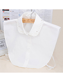 Double White Pearl Decorated Shirt Shape Design Cotton Detachable Collars