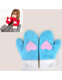 Pleated Blue Heart Pattern Fingerless Simple Design Wool Full Finger Gloves