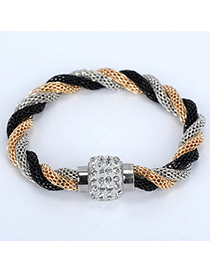 Buckle Black & Gold Color & Silver Color Diamond Decorated Weave Design