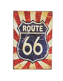 Charming Navy Blue Letter Route 66 Pattern Simple Design