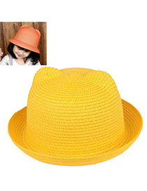 children Yellow Pure Color Crimping Design Twine Children's Hats