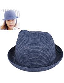 fresh Navy Blue Pure Color Crimping Design Twine Sun Hats