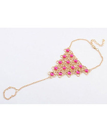Retro Plum Red Gemstone Decorated Triangle Shape Design Alloy Fashion Anklets