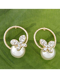 Trendy Gold Color Pearl Decorated Butterfly Design