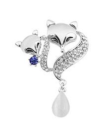 Charming Silver Color Diamond Decorated Fox Shape Design  Alloy Korean Brooches