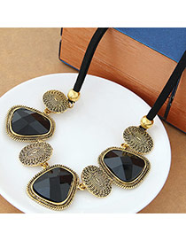 Fashion Black Geometry Shape Decorated Short Design
