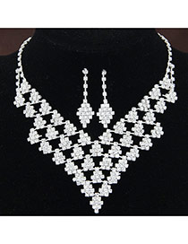 Fashion White Diamond Decorated Geometry Shape Hollow Out Design