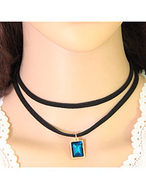 Fashion Blue Square Pendant Decorated Double Layer Design