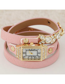 Elegant Pink Diamond&leaft Decorated Multilayer Design Alloy Ladies Watches