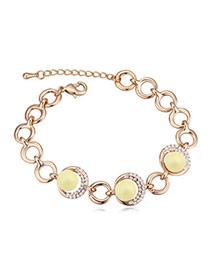 Elegant Champagne Gold+yellow Diamond&beads Decorated Circle Shape Design Alloy Crystal Bracelets