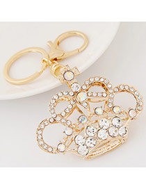 Fashion Gold Colour Diamond Decorated Crown Shape Design Alloy Fashion Keychain