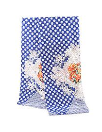 Vintage Dark Blue Flower Pattern Simple Design