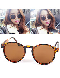 Vintage Leopard Color Thin Leg Round Frame Design