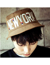 Lucky Light Coffee Letter New York Pattern Simple Design  Canvas Sun Hats