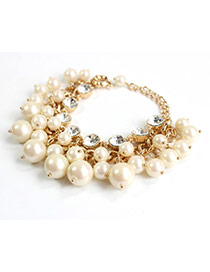 Exquisite Gold Color Pearl Decorated Simple Design Alloy
