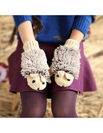 Fashion Khaki Hedgehog Shape Simple Design  Woolen Full Finger Gloves