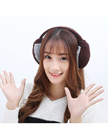 Fashion Brown Color Matching Weave Simple Design Wool Fashion earmuffs
