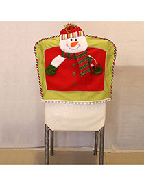 Personality Red Snowman Decorated Three-dimensional Chair Cover