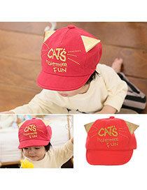 Cute Red Letter Embroideried Decorated Soft Brim Design
