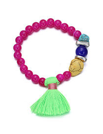 Personality Plum Red+green Tassel Decorated Simple Design Acrylic Fashion Bracelets