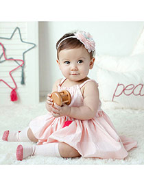 Cute Pink Flower Shape Decorated Simple Design Fabric Kids Accessories