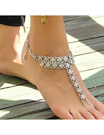 Personality Silver Color Flower Pattern Decorated Simple Design