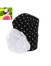 Fashion Black+white Big Flower Decorated Simple Design Cotton Children's Hats