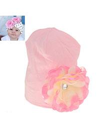 Fashion Pink Flower&diamond Decorated Simple Design Cotton Children's Hats