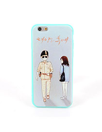 Fashion Blue Soilder&girl Pattern Decorated Dots Descendants Of The Sun Silicone Iphone 6