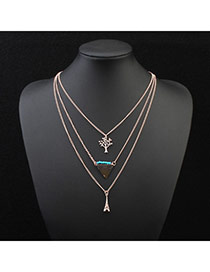 Fashion Green Eiffel Tower Pendant Decorated Multilayer Design
