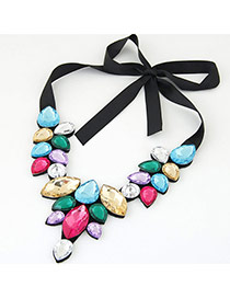 Trendy Multi-color Water Drop Shape Gemstone Decorated Short Chain Necklace